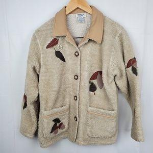 Teddi sherpa jacket petite small w/ patchwork